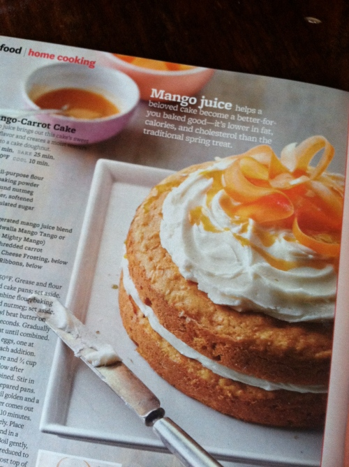 Made Mango-Carrot cake from the April Better Homes & Gardens for a certain someone's birthday.
